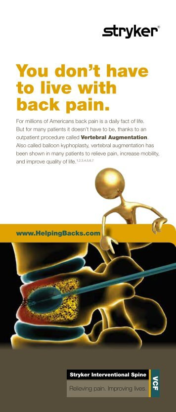 Vertebral Augmentation Patient Brochure - Stryker Helping Backs