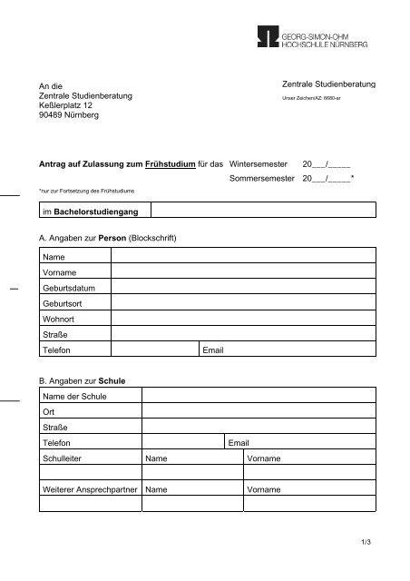 An die Zentrale Studienberatung Keßlerplatz 12 90489 Nürnberg ...