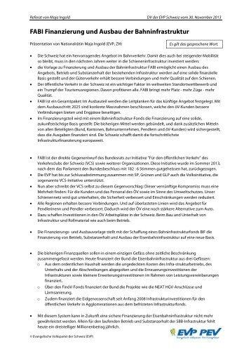 FABI Finanzierung und Ausbau der Bahninfrastruktur - EVP
