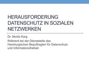 Herausforderung Datenschutz in sozialen Netzwerken von Dr ...