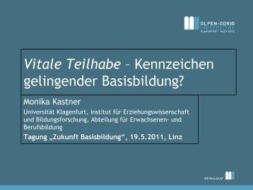 Vitale Teilhabe – Kennzeichen gelingender Basisbildung? - Zukunft ...