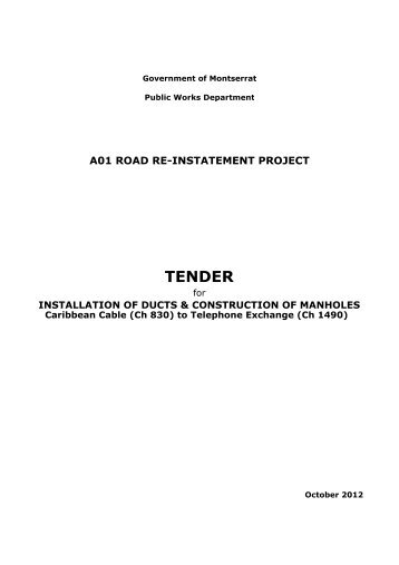 TENDER - Government of Montserrat