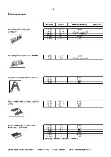 Übersicht Schneefangsysteme als PDF - Sacchet Metallwaren AG