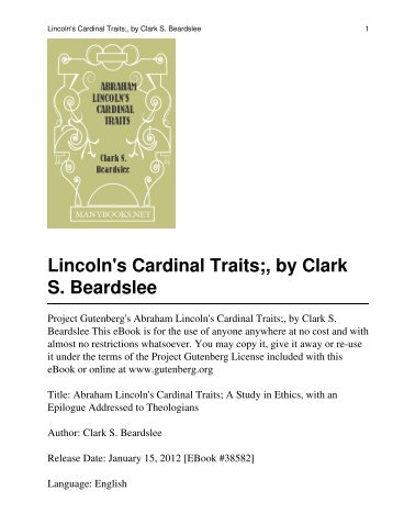 Abraham Lincoln's Cardinal Traits - University of Macau Library