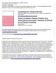 Rimini Protokoll's Reality Theatre and Intercultural Encounter ...