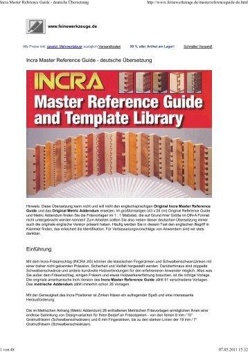 (Incra Master Reference Guide - deutsche ... - Dieter Schmid