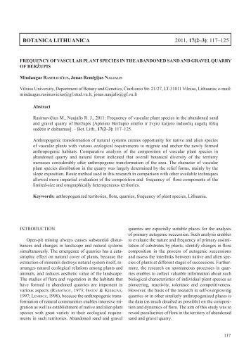 Botanica Lithuanica 2011, 17(2–3): 117–125