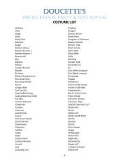 Click here for our costume list (PDF) - Doucette's Party & Tent Rental