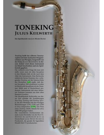 Toneking Tenor Saxophone - The Vintage Saxophone Gallery