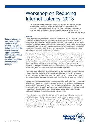 our report from this workshop - Internet Society