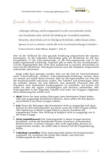 Ernährung für VATA Konstitution - Ayurveda Rhyner