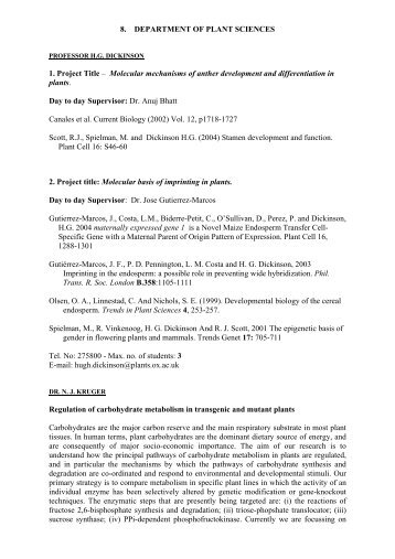 8. DEPARTMENT OF PLANT SCIENCES 1. Project Title – Molecular ...