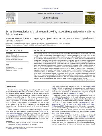 Ex situ bioremediation of a soil contaminated by mazut (heavy ...