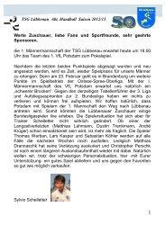 1 TSG Lübbenau Abt. Handball Saison 2012/13 Werte Zuschauer ...