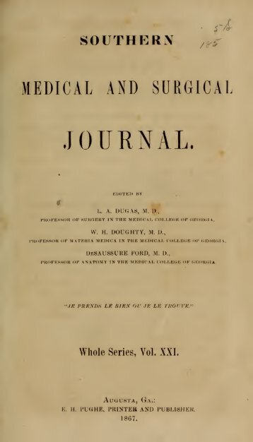 Southern Medical and Surgical Journal - Georgia Regents University