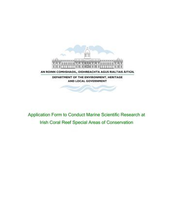 Application Form to Conduct Marine Scientific Research at Irish ...