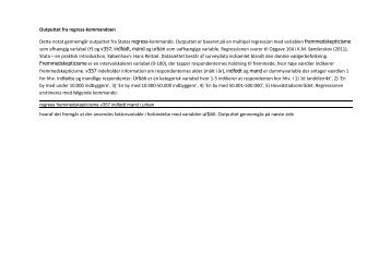 Outputtet fra regress-kommandoen Dette notat gennemgår outputtet ...
