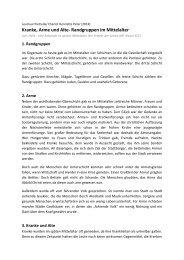 Kranke, Arme und Alte- Randgruppen im Mittelalter