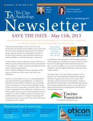 SAVE THE DATE - May 11th, 2013 - Tri-City Audiology