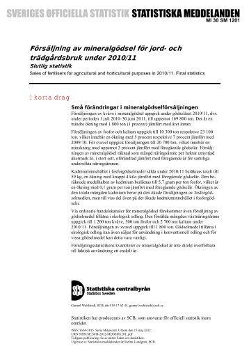 Försäljning av mineralgödsel för jord- och trädgårdsbruk under 2010 ...