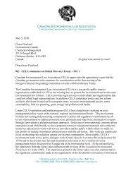 Dear Grace Howland: - Canadian Environmental Law Association