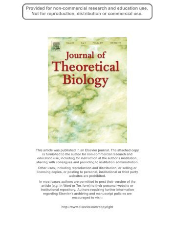 Journal of Theoretical Biology 248, 501-511 - University of Leicester