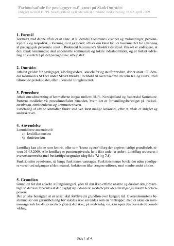 Forhåndsaftale for SFO-pædagoger i Rudersdal - Bupl