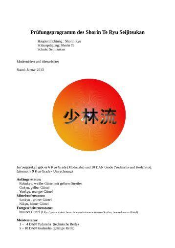 Prüfungsprogramm - Seijitsukan Karate und Kobudo