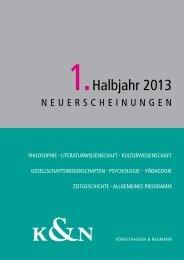 1.Halbjahr 2013 - Verlag Königshausen & Neumann