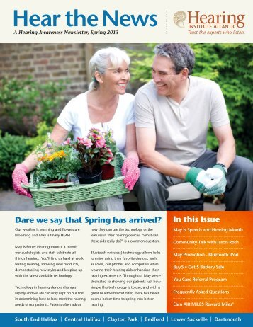Spring Newsletter 2013 - Hearing Institute Atlantic