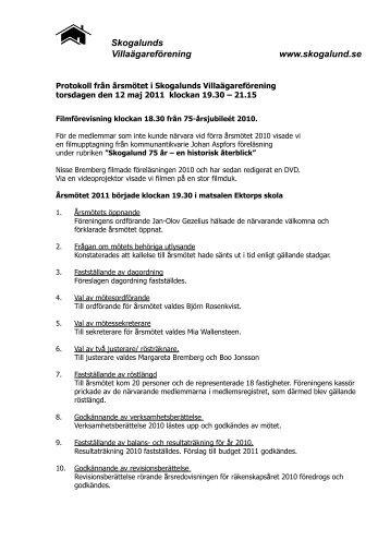 Protokoll Årsmöte Skogalund 2011 Slutversion - Skogalunds ...