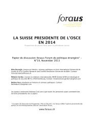 LA SUISSE PRESIDENTE DE L'OSCE EN 2014 - foraus