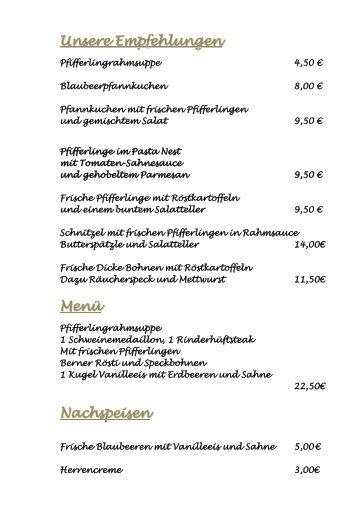 Speisekarte als PDF laden - Gasthaus Eickholt
