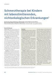 Schmerztherapie bei Kindern mit lebenslimitierenden ...