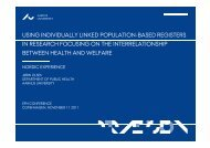 Olsen, Jørn: Using individually linked population-based ... - EUPHA
