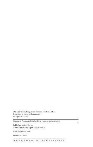 The Holy Bible, King James Version Thinline Edition ... - Zondervan
