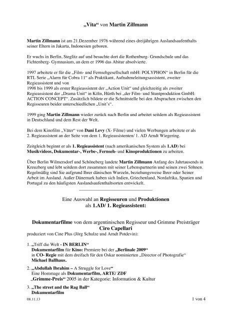 """""""Vita"""" von Martin Zillmann Eine Auswahl an Regisseuren und ..."""