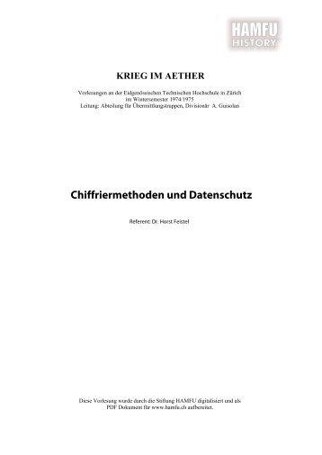 Chiffriermethoden und Datenschutz - Stiftung HAMFU
