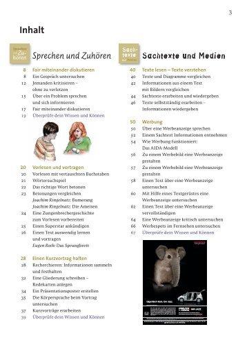 Inhaltsverzeichnis Praxis Sprache 7