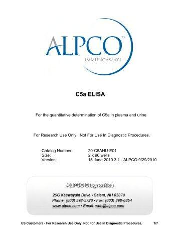 C5a ELISA - ALPCO Diagnostics