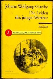 Goethe Die Leiden des jungen Werther, Reclam Universal ...