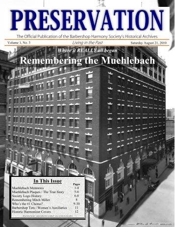 Preservation August 2010.pdf - Barbershop Harmony Society
