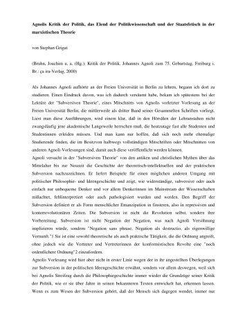 Agnolis Kritik der Politik, das Elend der Politikwissenschaft und der ...