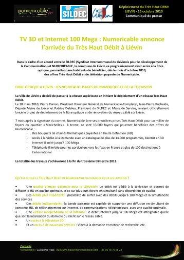 TV 3D et Internet 100 Mega : Numericable annonce l'arrivée du Très ...