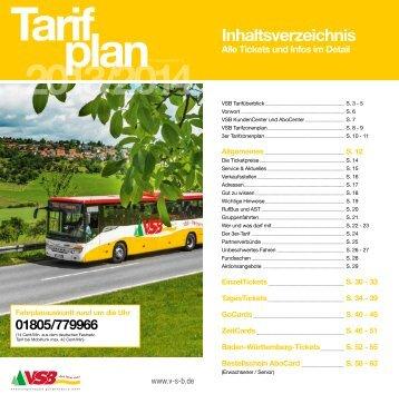 Broschüre Tarifplan - Vsb