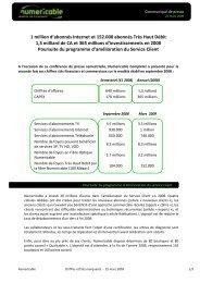 1 million d'abonnés Internet et 152.000 abonnés Très ... - Numericable