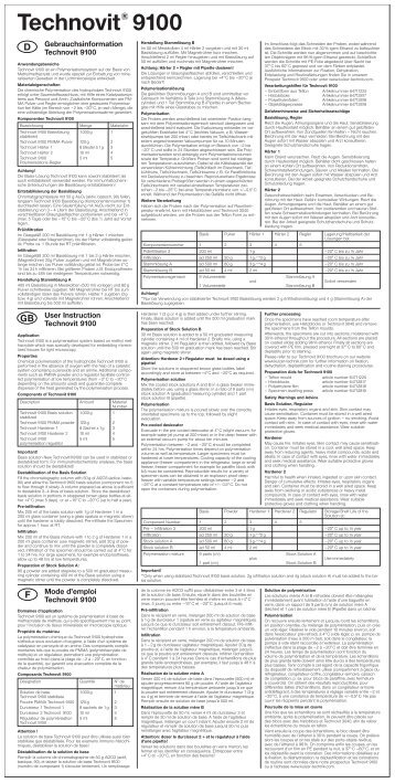 Technovit® 9100 - bei Heraeus Kulzer Technik