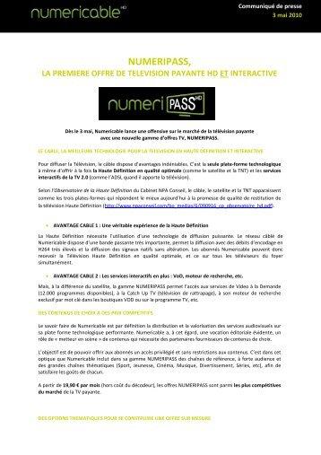 numeripass, la premiere offre de television payante ... - Numericable