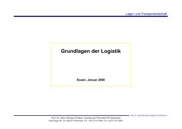 Grundlagen der Logistik - Prof. Dr. Heinz-Michael Winkels