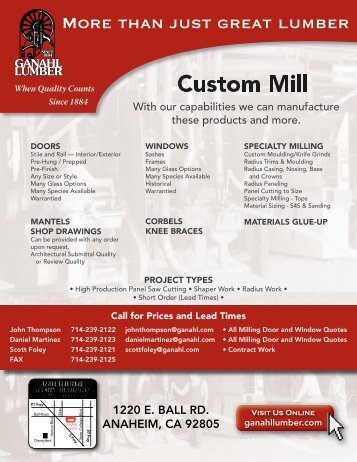 Download the custom mill brochure - Ganahl Lumber